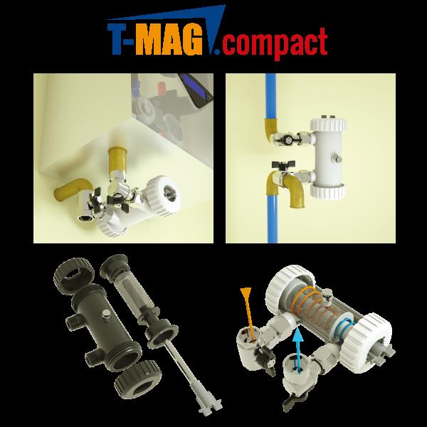 T-MAG COMPACT: Il filtro magnetico a pulizia semiautomatica in controcorrente per caldaie ad incasso